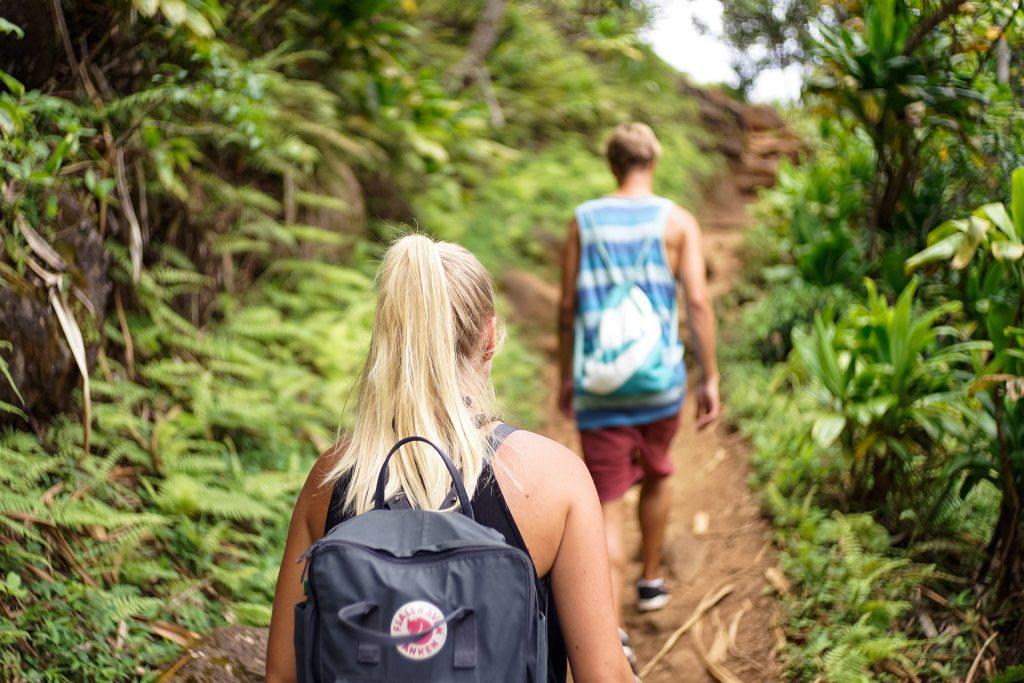 Imagem de duas pessoas andando em uma trilha na mata. Imagem ilustrativa texto como montar uma agência de viagens online.