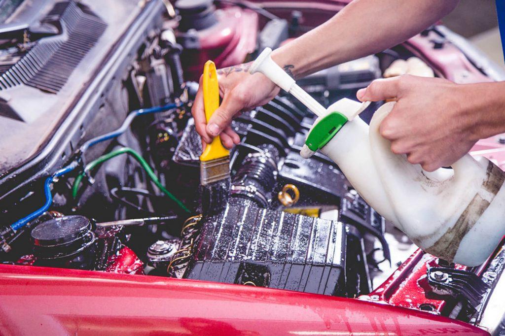 profissional fazendo limpeza do motor de um carro