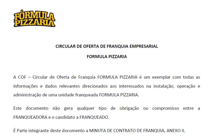primeira pagina cof franquia formula pizzaria