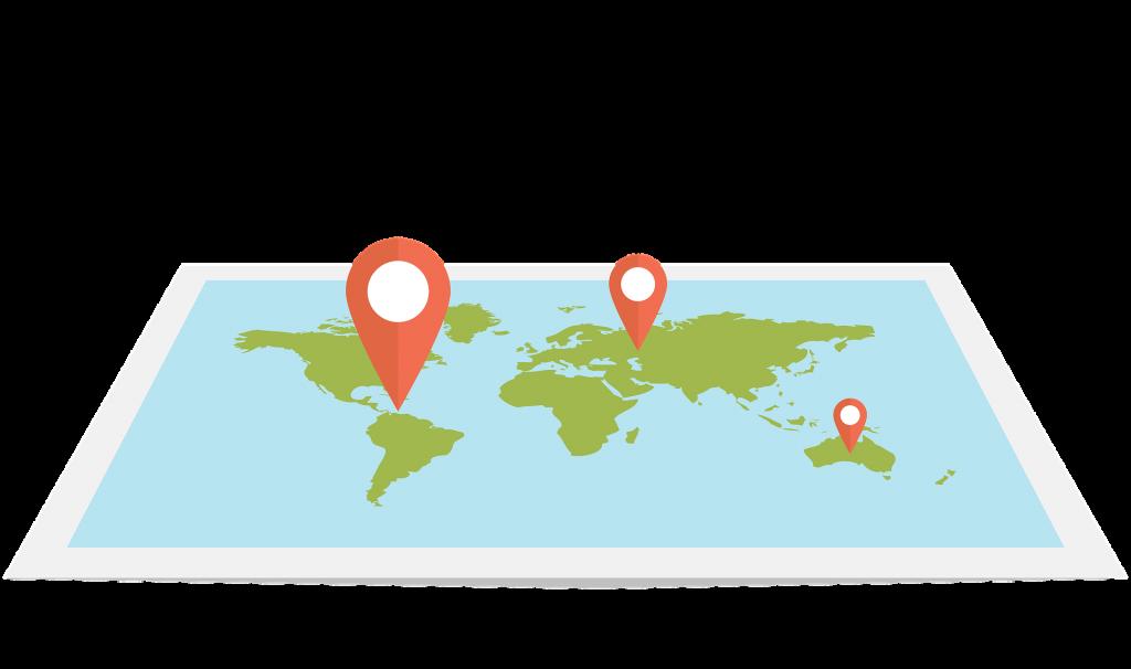 mapa ilustrativo com pins de localização