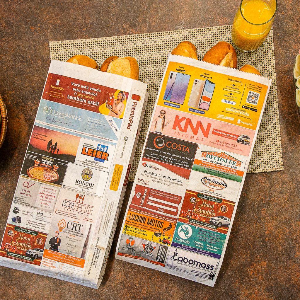 imagem sacos de pao com publicidades premiapao