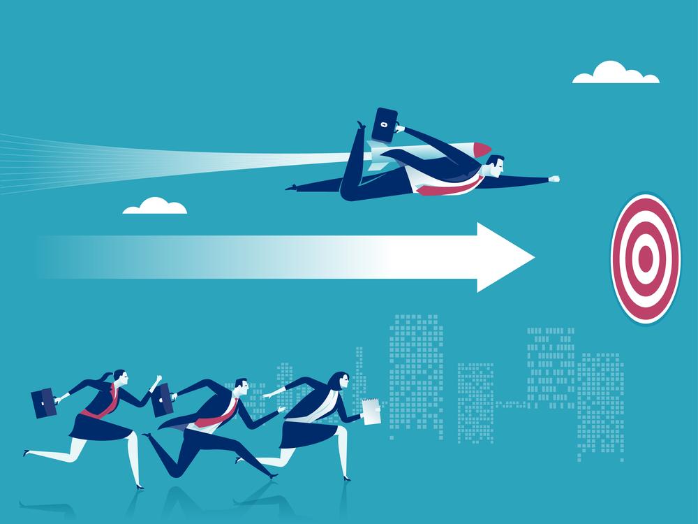 ilustração de empresários indo em direção a um alvo