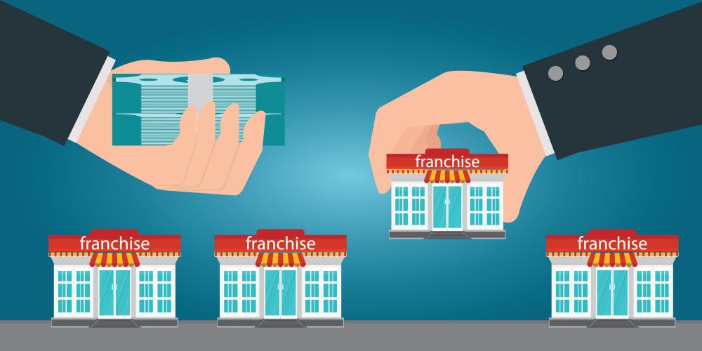 ilustração de um empresário oferecendo dinheiro em troca de uma franquia