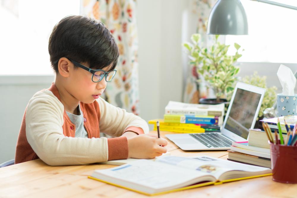 Franquias baratas 2021: criança estudando com livros a sua disposição na mesa e um computador