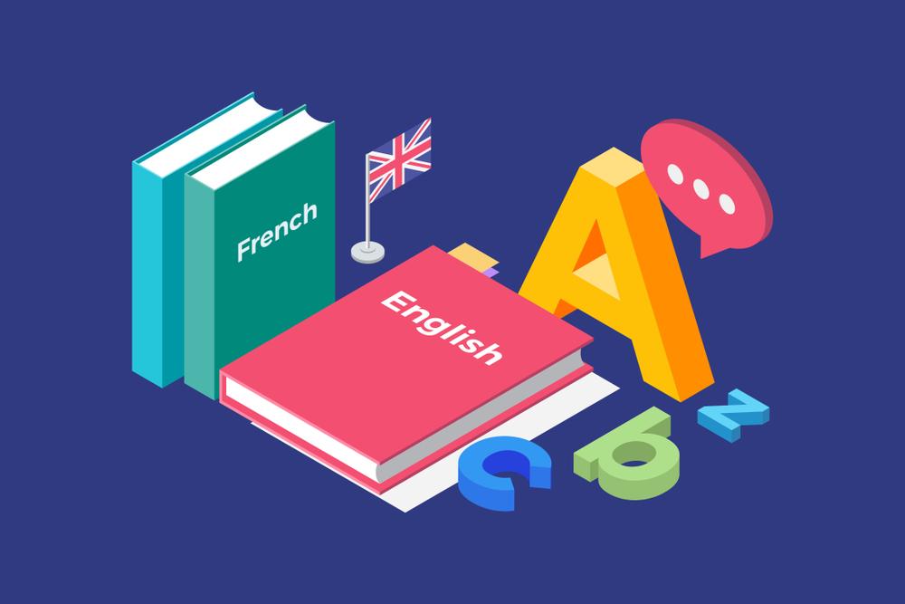 Franquias baratas 2021: livros de idiomas ilustrado ao lado de letras do alfabeto