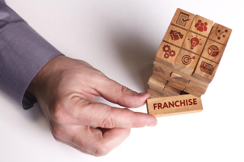 blocos de madeira com simbolos de setores e uma mão puxando um pequeno bloco escrito franchise (franquias de sucesso)